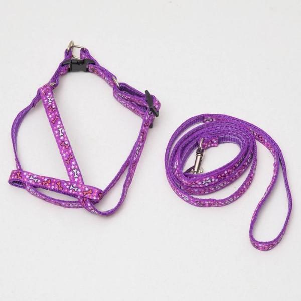 """Комплект """"Звёздные косточки"""", шлейка 23-35 см, фиолетовый"""