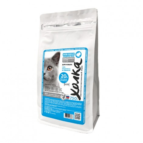 Сухой корм супер-премиум класса Холка для кошек 20% мяса индейка-рис 750г
