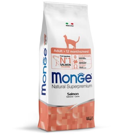 Сухой корм Monge для кошек Cat Monoprotein Salmon для взрослых кошек с лососем 10 кг
