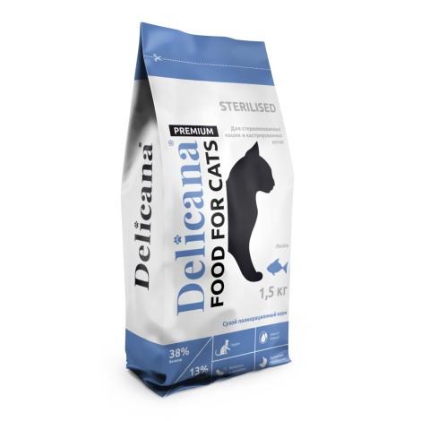 Сухой корм Delicana для стерилизованных кошек лосось 1.5кг