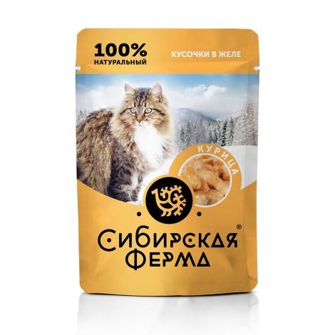 Влажный корм Сибирская ферма для кошек курица в желе