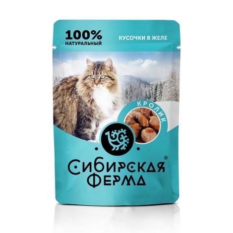 Влажный корм Сибирская ферма для кошек кролик в желе