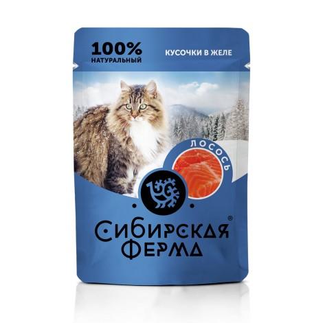 Влажный корм Сибирская ферма для кошек лосось в желе