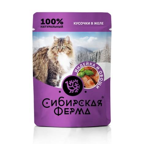 Влажный корм Сибирская ферма для кошек индейка и овощи в желе