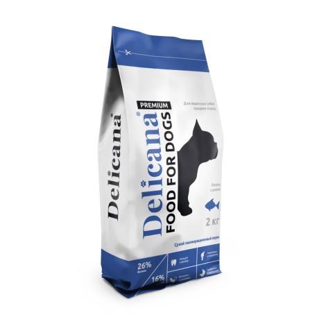 Сухой корм Delicana для собак средних пород лосось с рисом 2кг