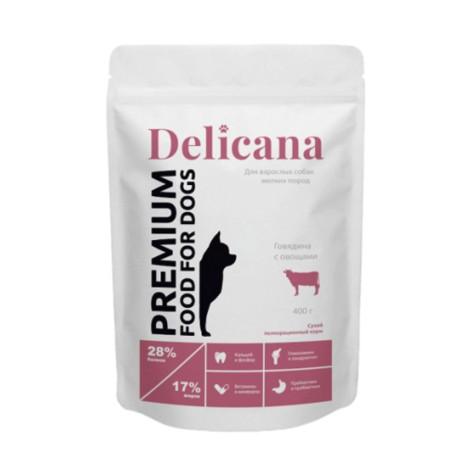 Сухой корм Delicana  для собак мелких пород говядина с овощами 400г