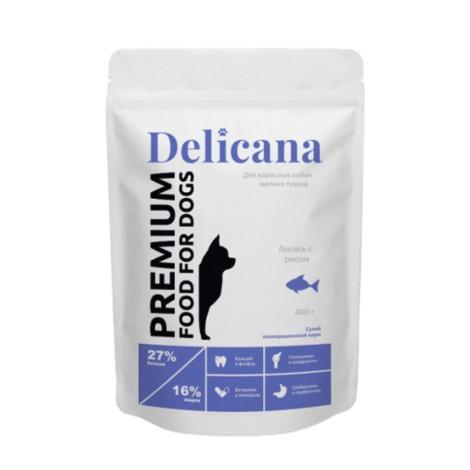 Сухой корм Delicana для собак мелких пород лосось с рисом 400г