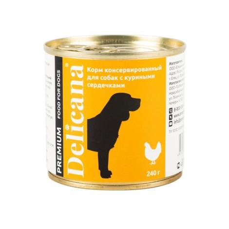 Delicana консервированный корм для собак с куриными сердечками, 240 г